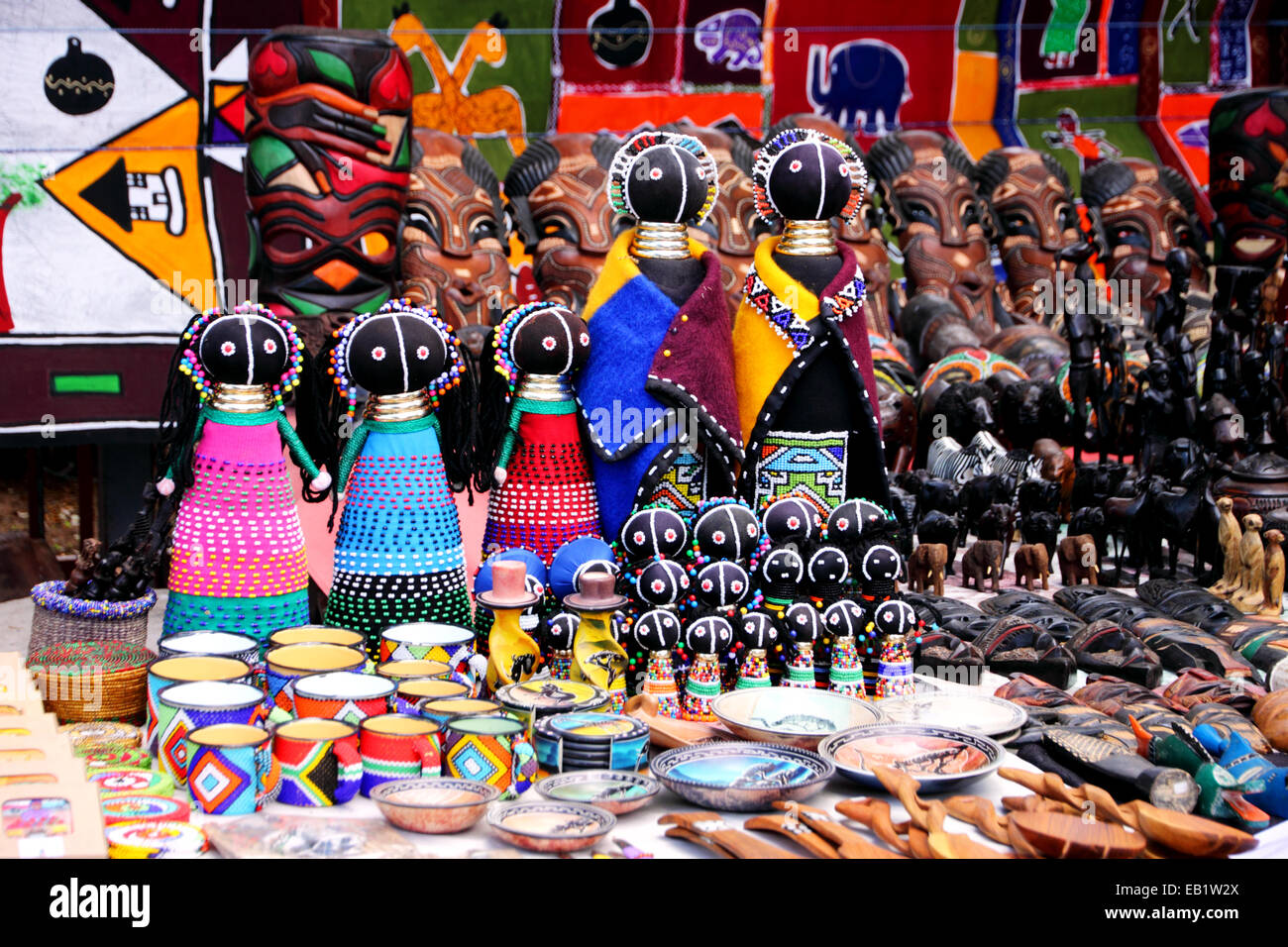 A Market Stall Selling Colourful African Crafts Stock Photo