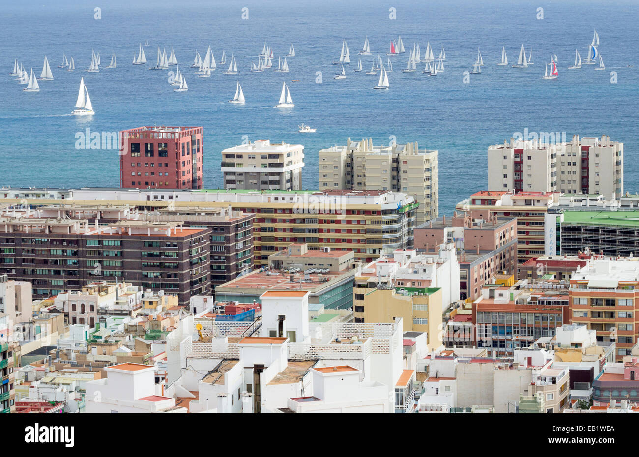 Gran Canaria, Canary Islands, Spain. 24th November, 2014. View from high city viewpoint in Las Palmas as yachts - Stock Image