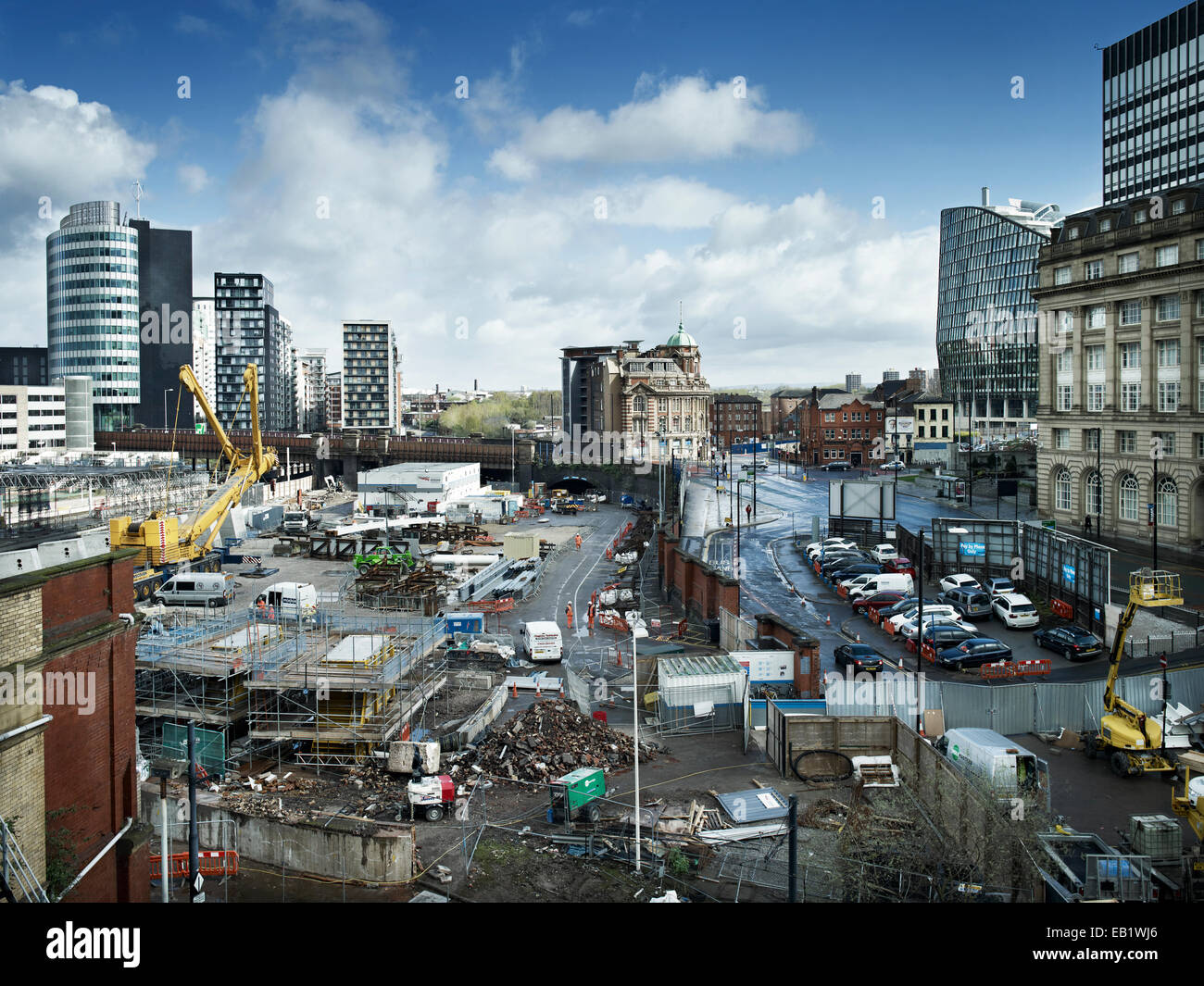 Manchester Victoria Station redevelopment view to the rear of the building site - Stock Image