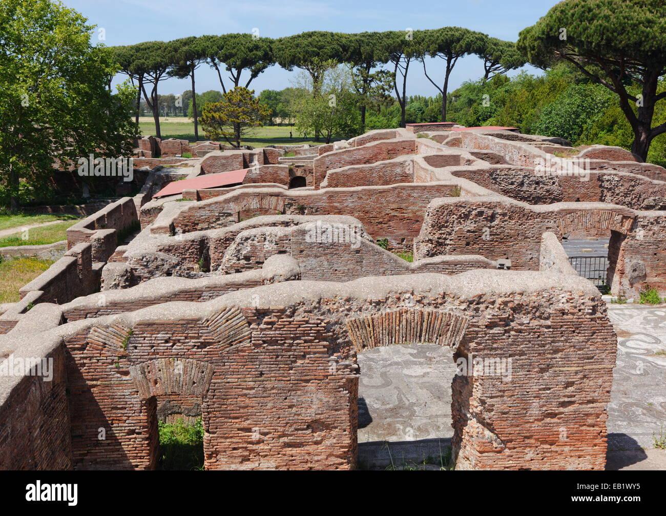 Roman Ruins in Ostia Antica, Port of Rome, Italy. - Stock Image