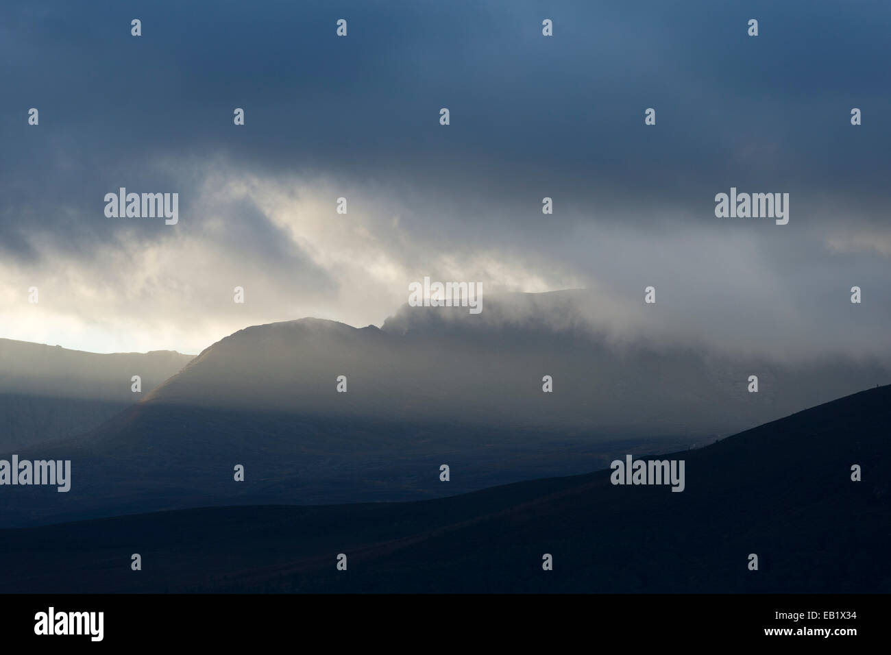 Storm clouds over Cairngorm mountains, Strathspey, Scotland - Stock Image