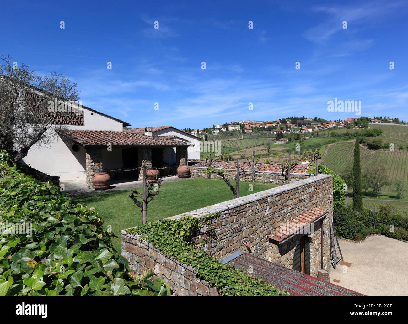 Colle Bereto Winery and the hill town of Radda in Chianti, Tuscany, Italy. - Stock Image