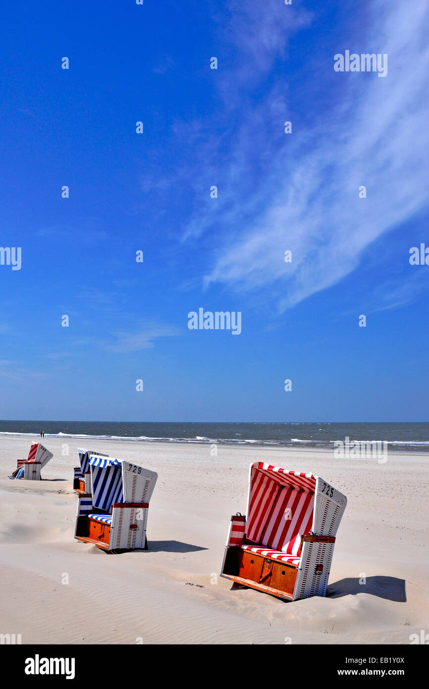 Baltrum Island, Sun chairs on the beach, Lower Saxony, East Frisian islands, Germany Stock Photo