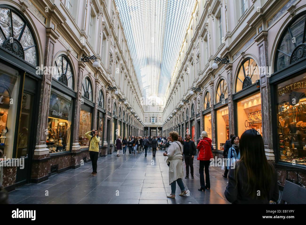 Galeries Royales Saint-Hubert Brussels - Stock Image
