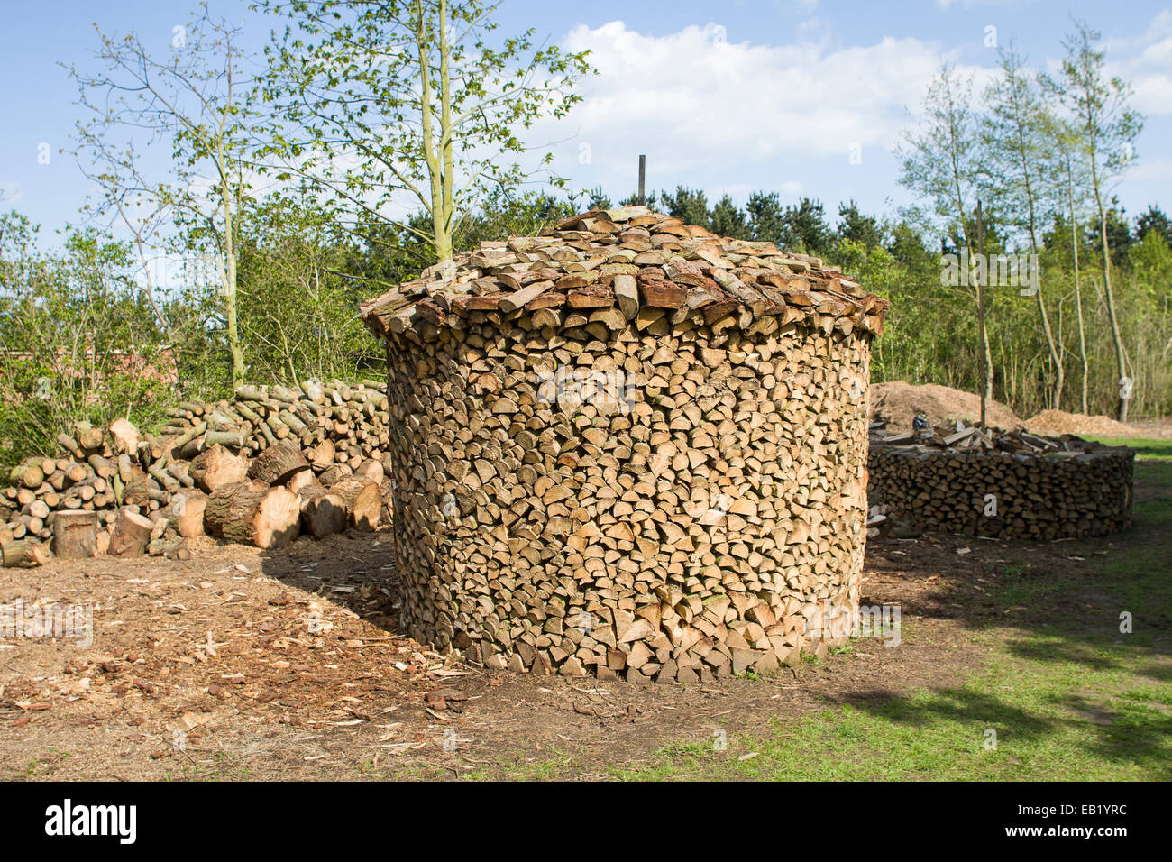 Holz Hausen Method Of Stacking Firewood To Dry Stock Photo 75646464
