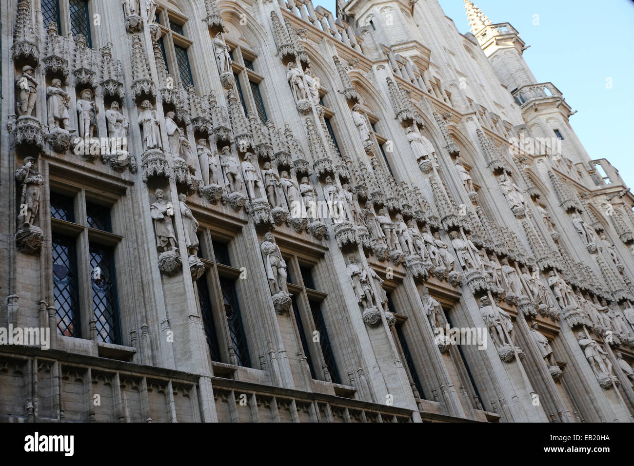 Brussels Town Hall Gothic Architecture Details Closeup