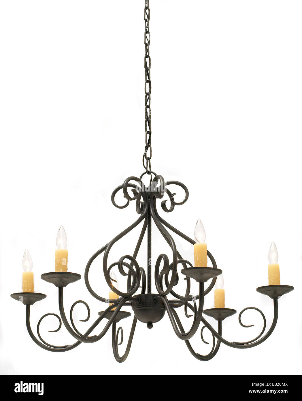 iron chandelier with fake candles by chandra - Stock Image