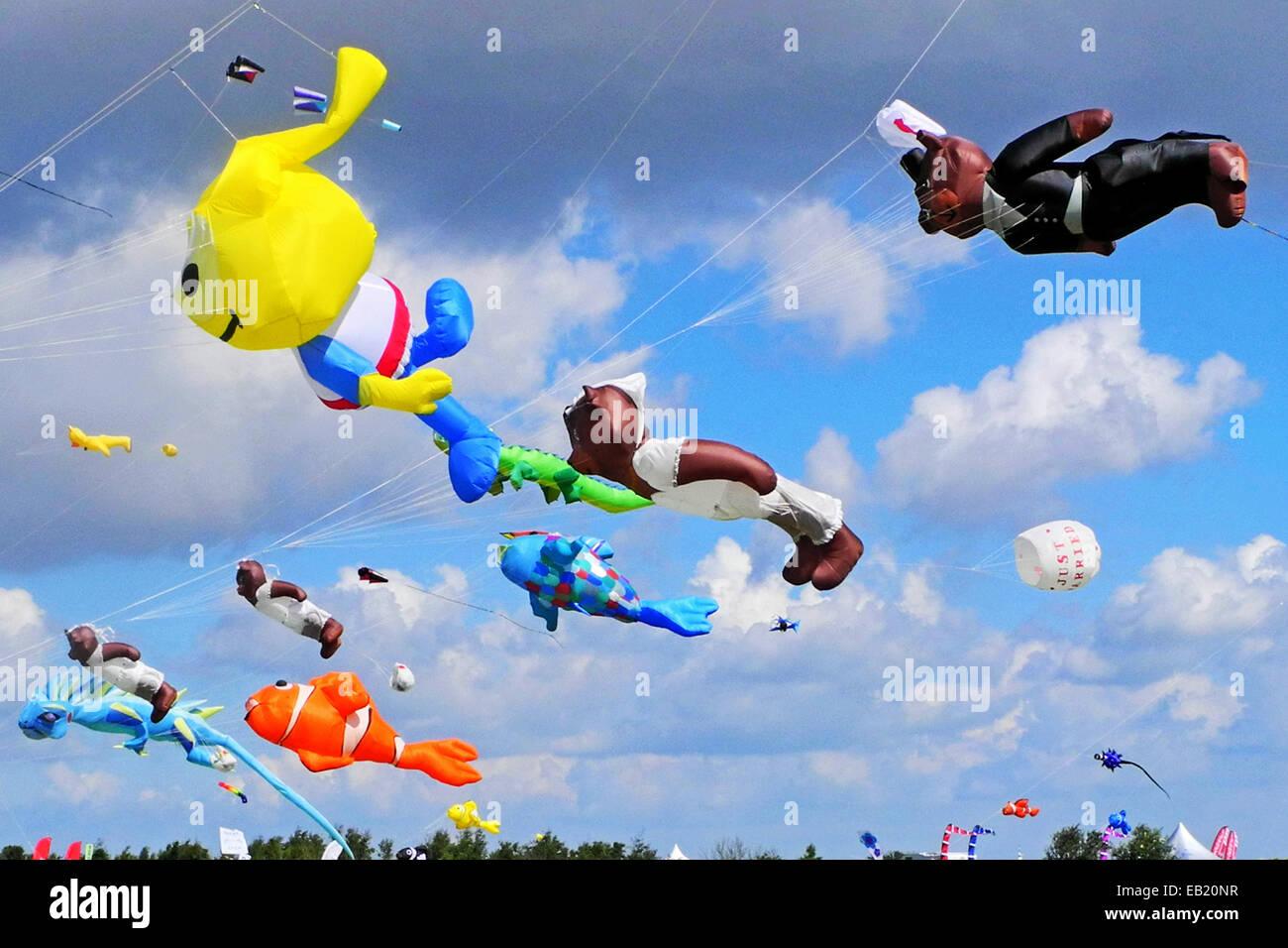 Kite festival on the beach in Schillig - Stock Image