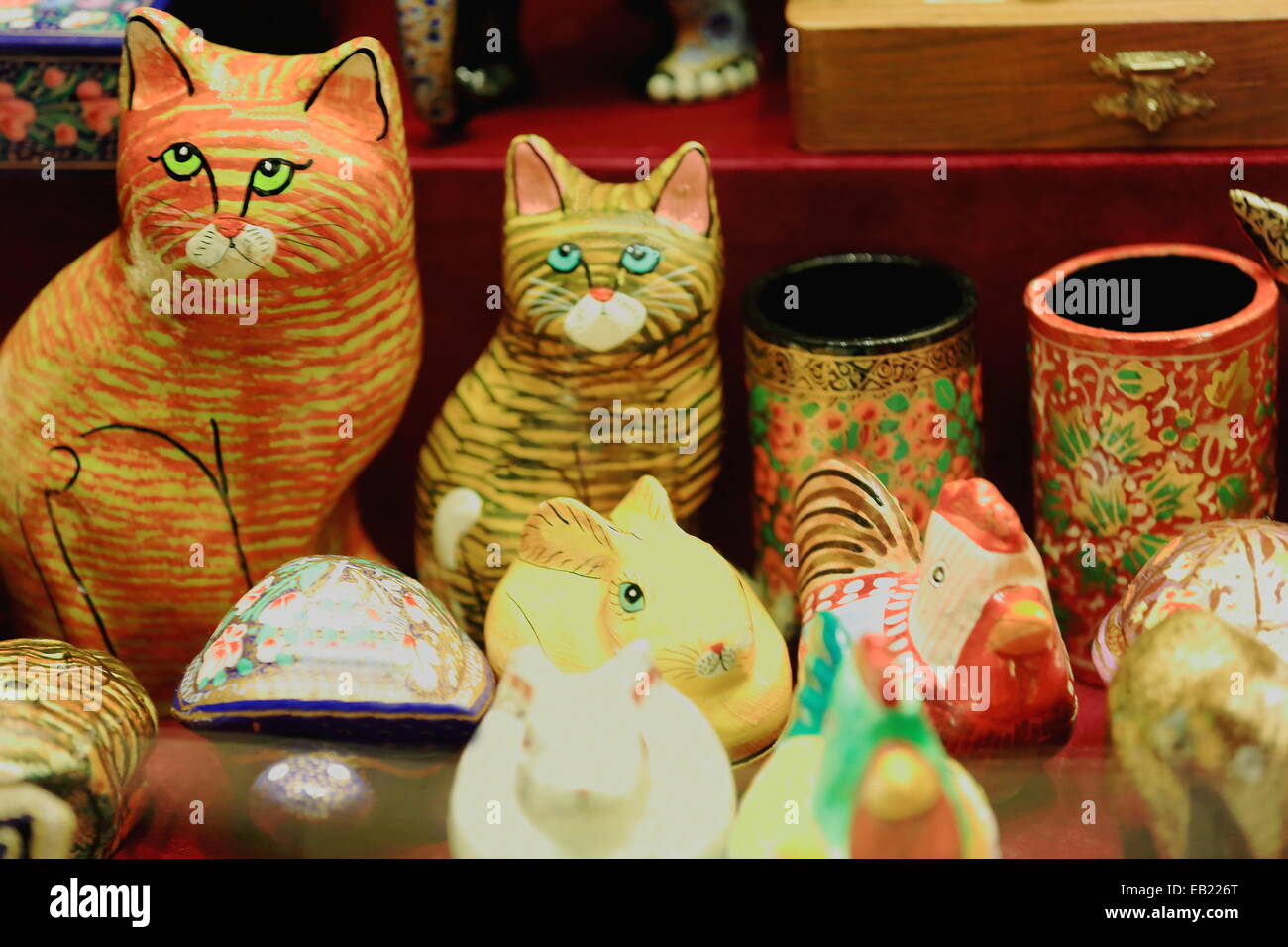 Nepalese Handicrafts Polychrome Paper Mache Pots And Figurines Stock