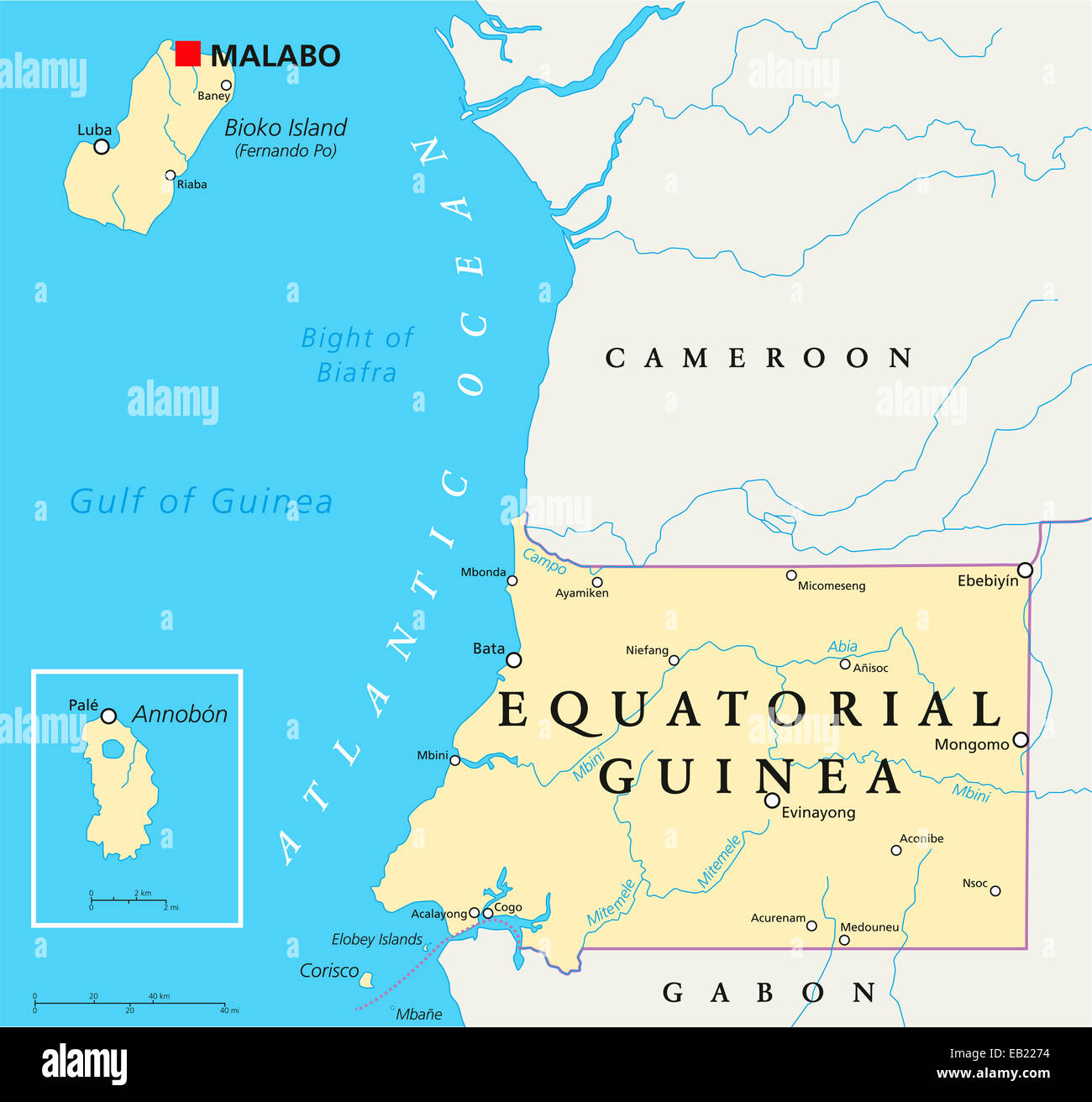 Equatorial guinea political map with capital malabo national stock equatorial guinea political map with capital malabo national borders important cities and rivers english labeling and scaling gumiabroncs Choice Image