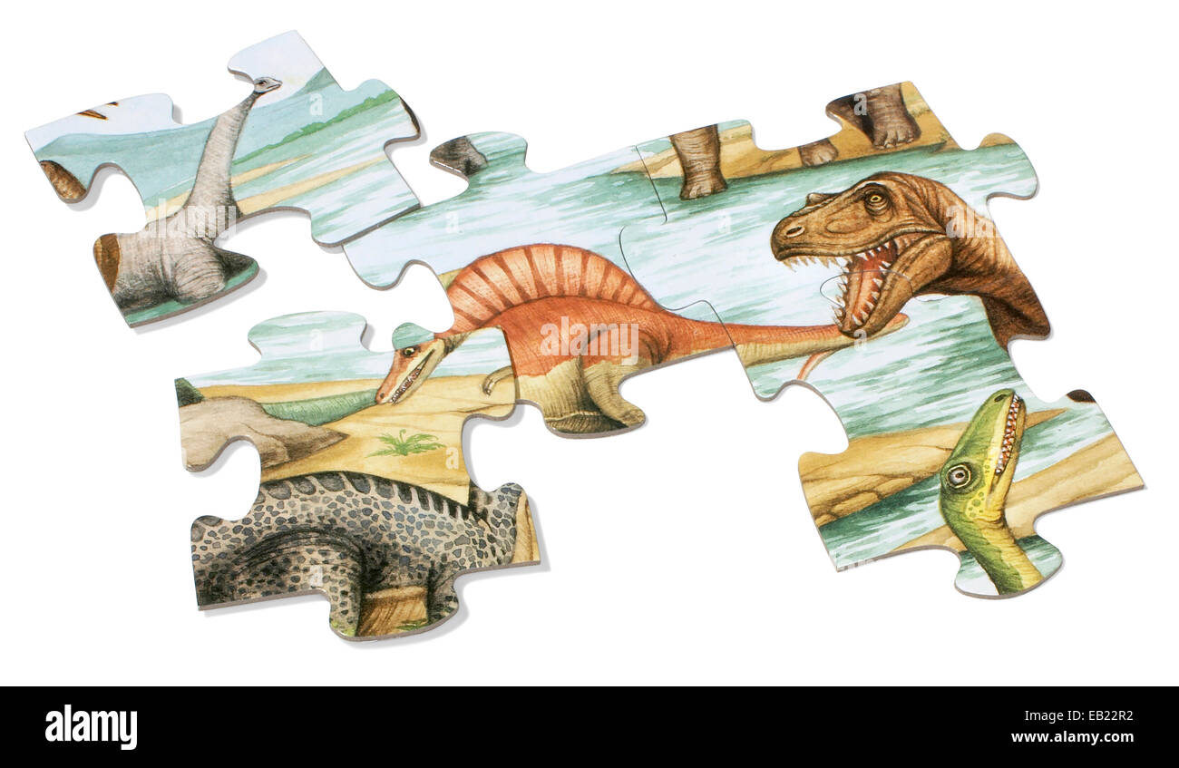 large dinosaur puzzle pieces - Stock Image