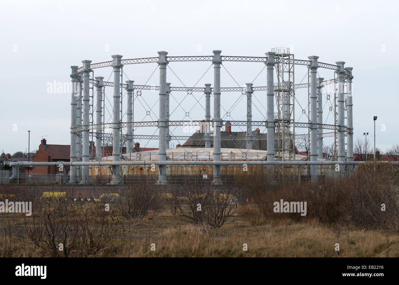 Victorian gasometer with ornate cast iron columns situated in Hendon, Sunderland, north east England UK - Stock Image