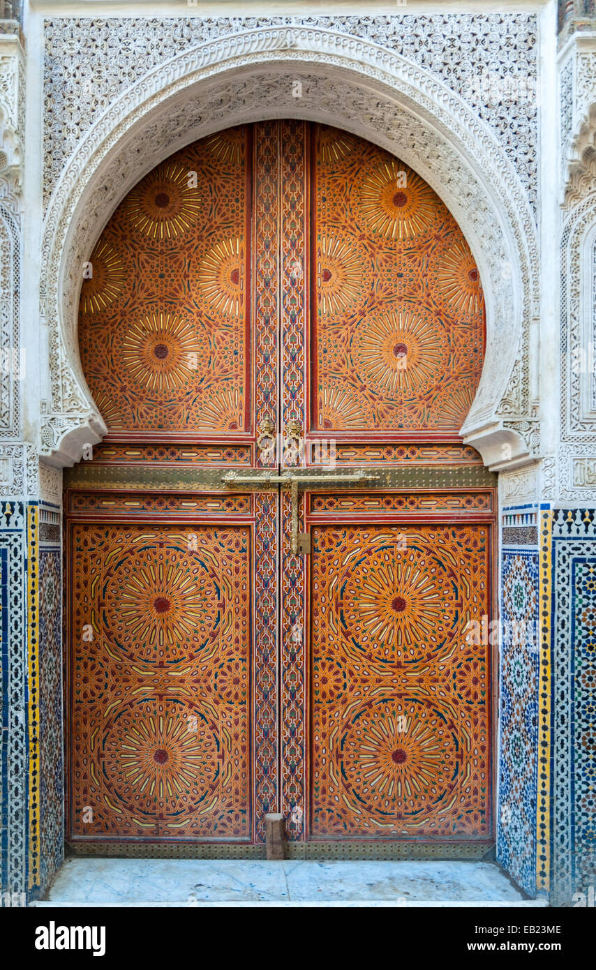 Beautiful decorated door in the medina of Fez, Morocco Stock Photo
