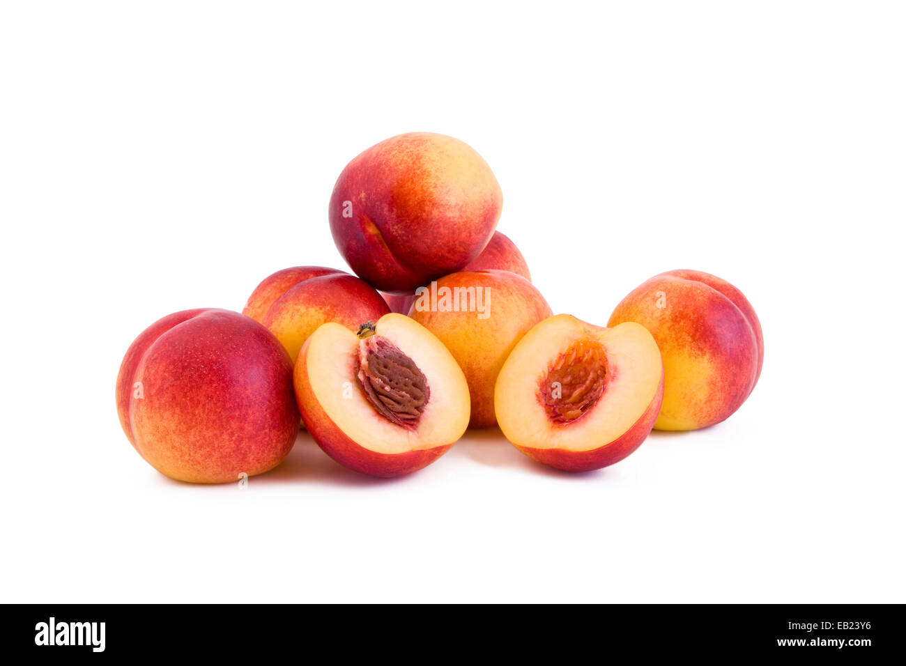 Red peach, fruit isolated on white background - Stock Image