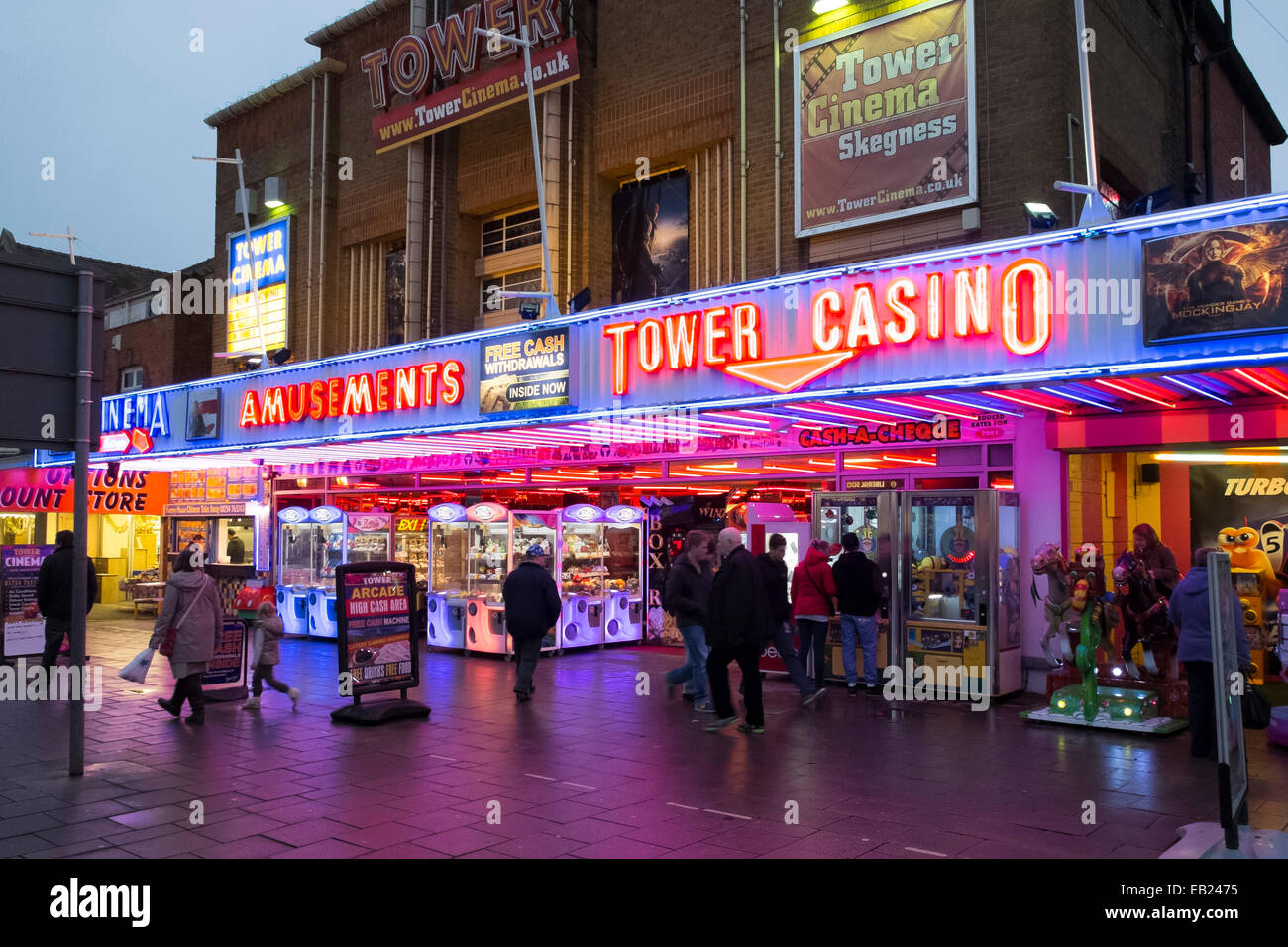 Tower Casino amusements near the sea front in Skegness - Stock Image