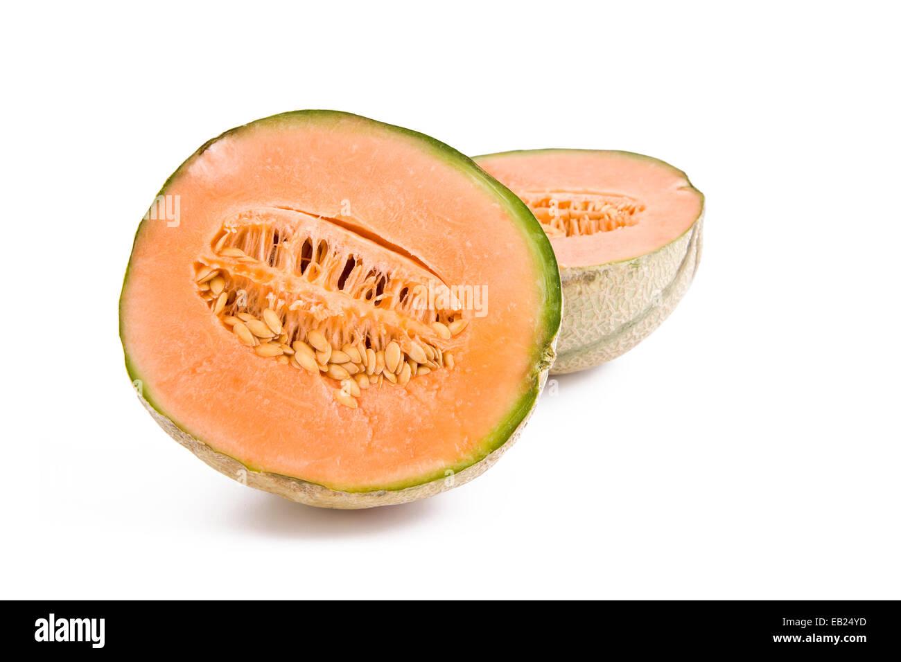 Fresh cantaloupe melon slices isolated on white background, fruits - Stock Image