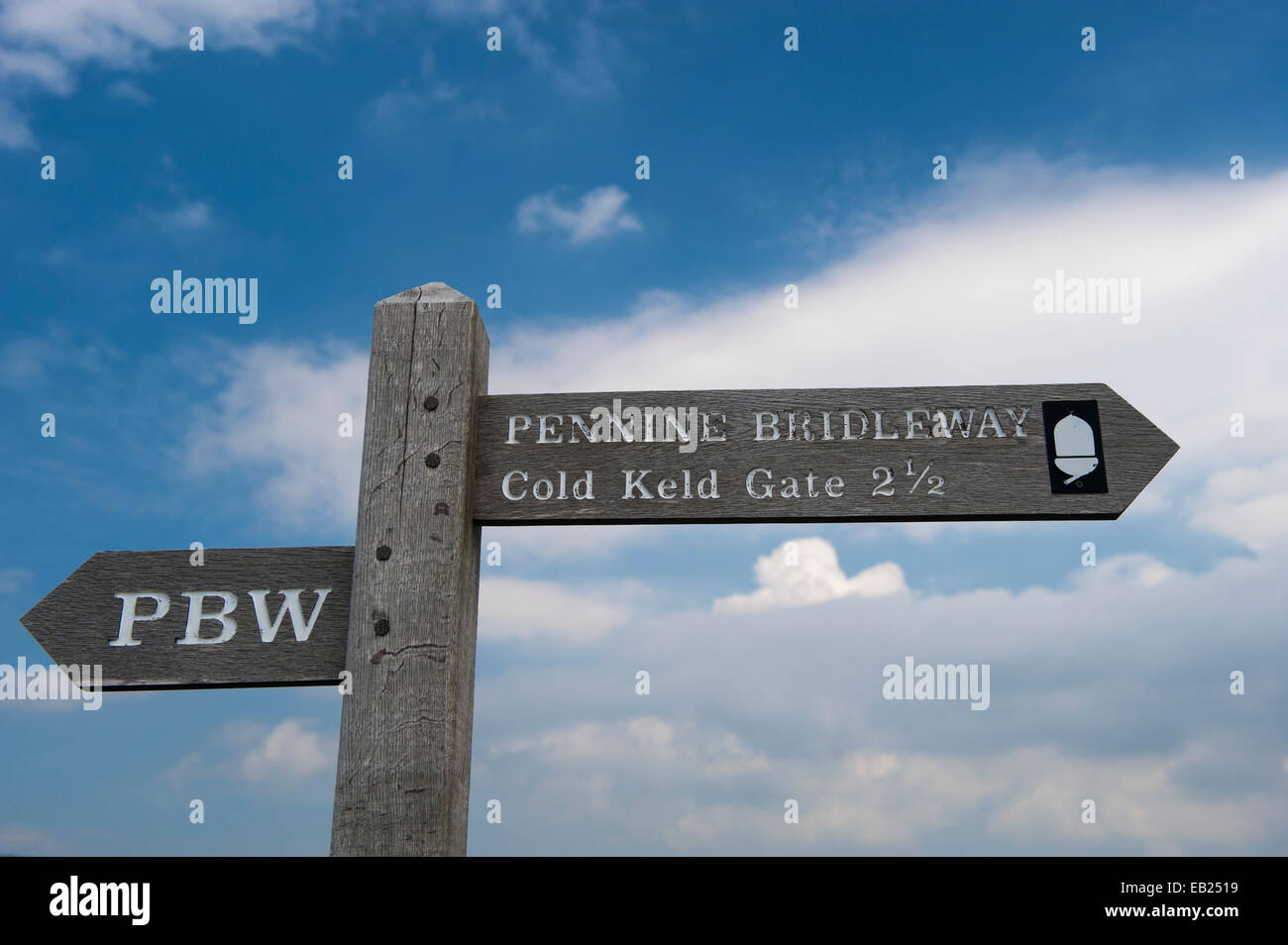 Signpost for the Pennine Bridleway, a 205 mile (330km) horse trail down the Pennines in the UK. - Stock Image