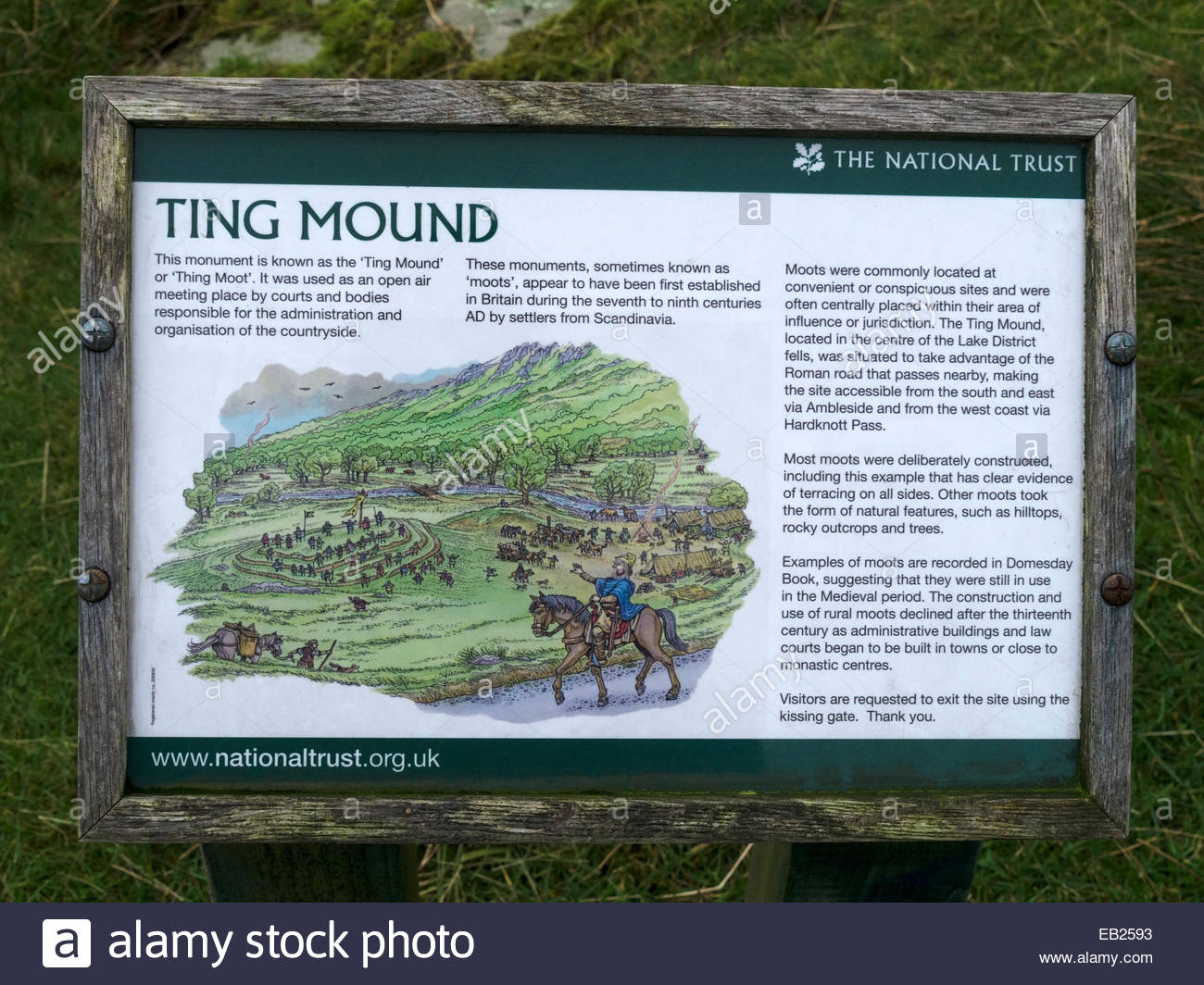 Information sign for ancient monument 'Ting mound' or 'Thing Moot', Little Langdale, Cumbria, England, - Stock Image