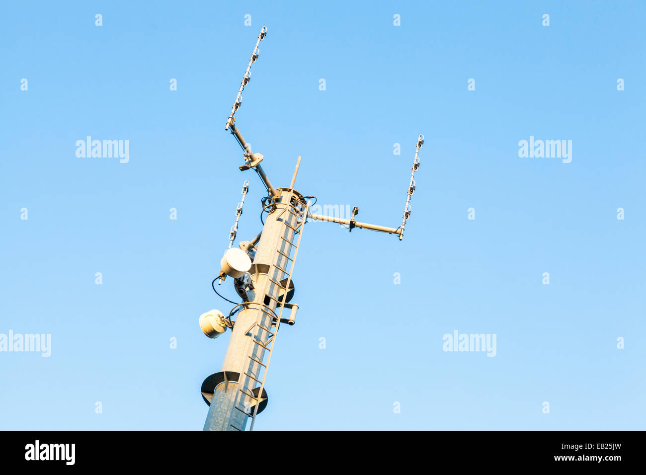 Top of a self supporting telecommunications mast, Nottinghamshire, England, UK - Stock Image