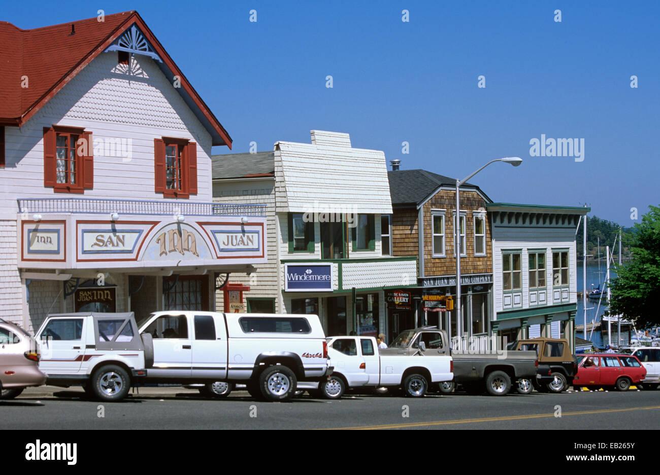 San Juan Island is a popular resort destination, centered around the town of Friday Harbor, Washington, USA - Stock Image