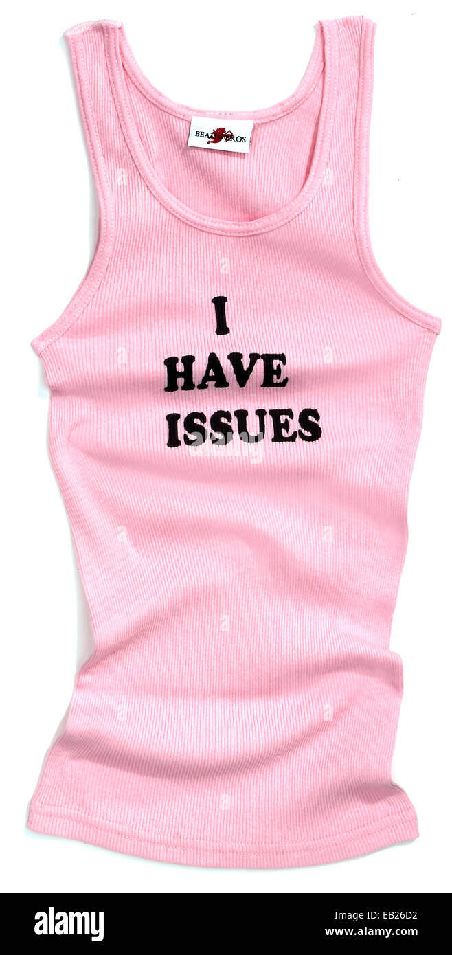 i have issues pink tank top - Stock Image