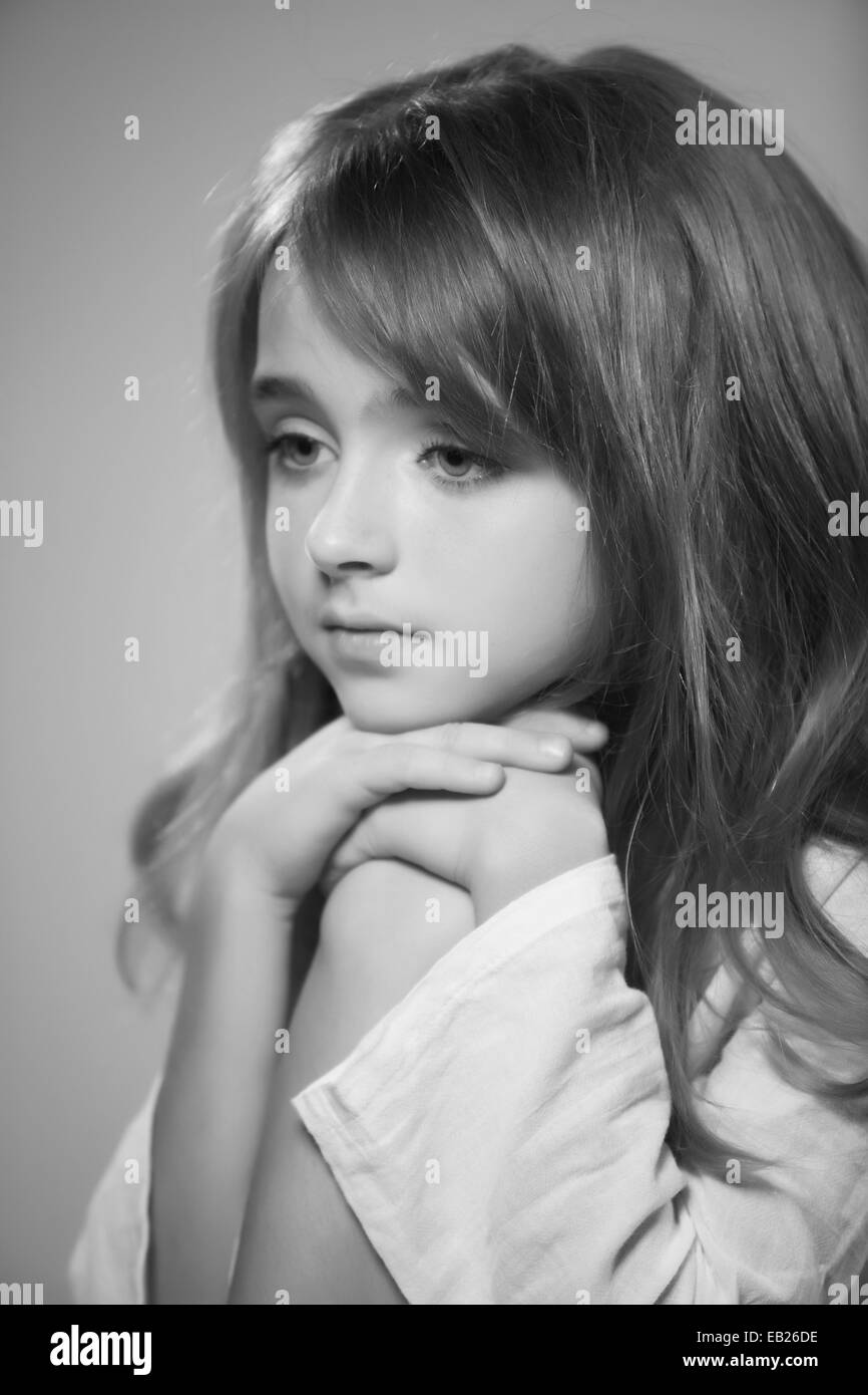 Portrait of beautiful teen girl black and white photography