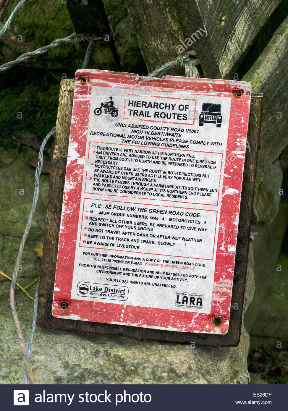 Old Hierarchy of 'Off Road' Trail Routes sign, Langdale, Lake District, Cumbria, England, UK. - Stock Image