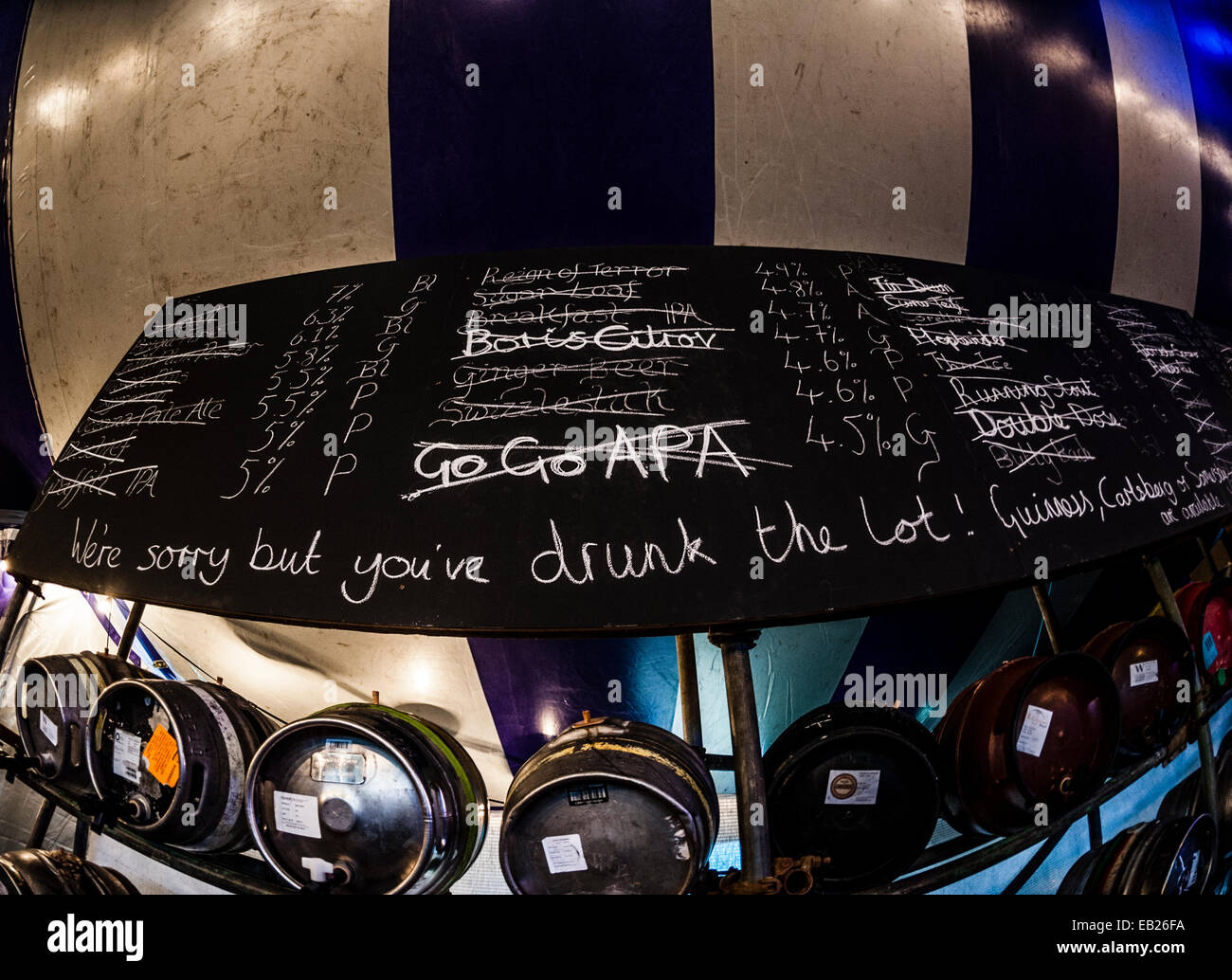 Sold out beers and ales crossed out on blackboard at the Big Tribute music festival Aberystwyth UK August bank holiday - Stock Image