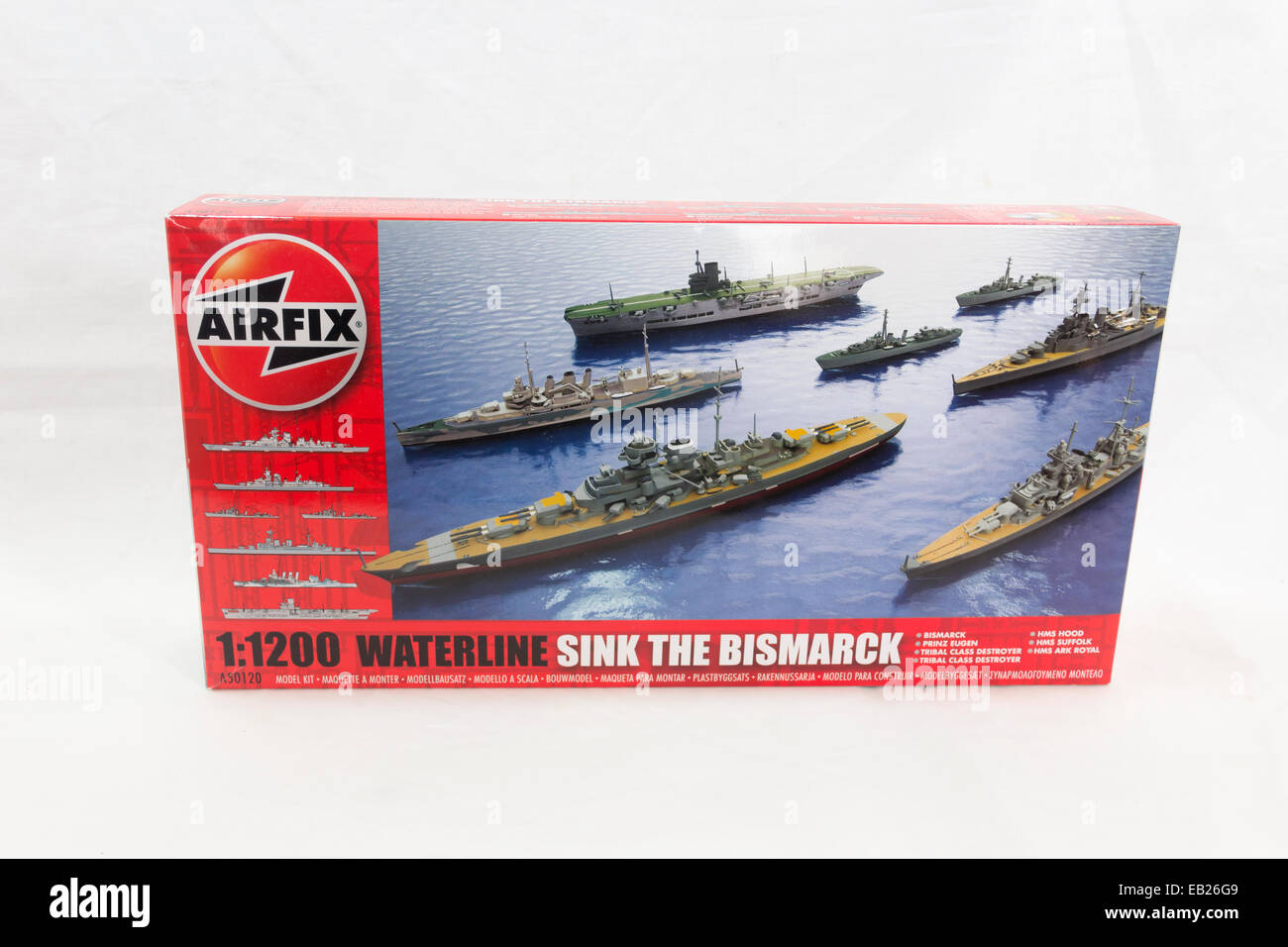 Airfix 'Sink the Bismark'' ship model construction kit box. A retail boxed collection of 1:1200 scale - Stock Image