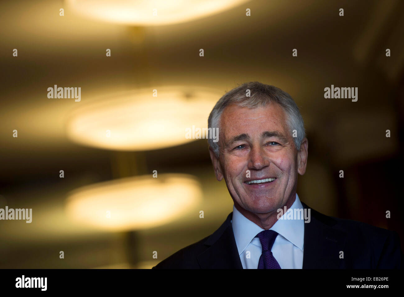 US Secretary of Defense Chuck Hagel smiles as he prepares to greet New Zealand Minister of Defense Gerry Brownlee - Stock Image