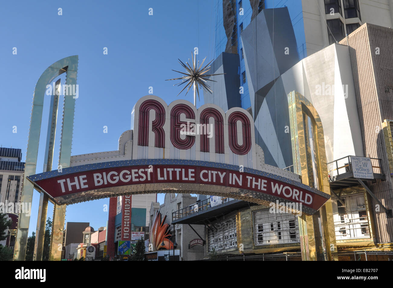 RENO - SEPTEMBER 05 : The Reno entrance sign on September 05, 2011. The original sign was built in 1926 to promote - Stock Image