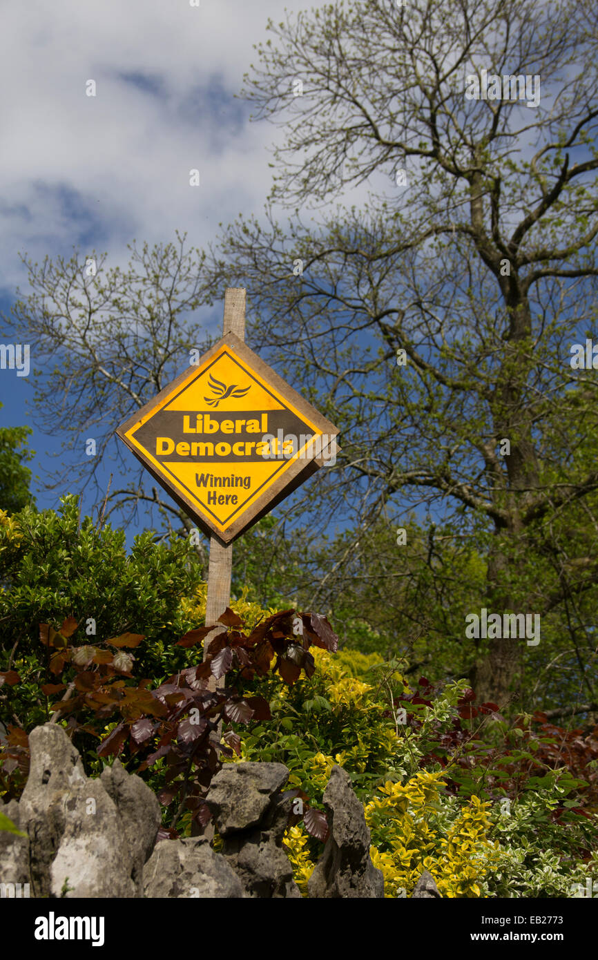 Liberal Democrat Party campaign banner outside a house in Kendal, Cumbria in the run up to the 2014 European Parliament - Stock Image