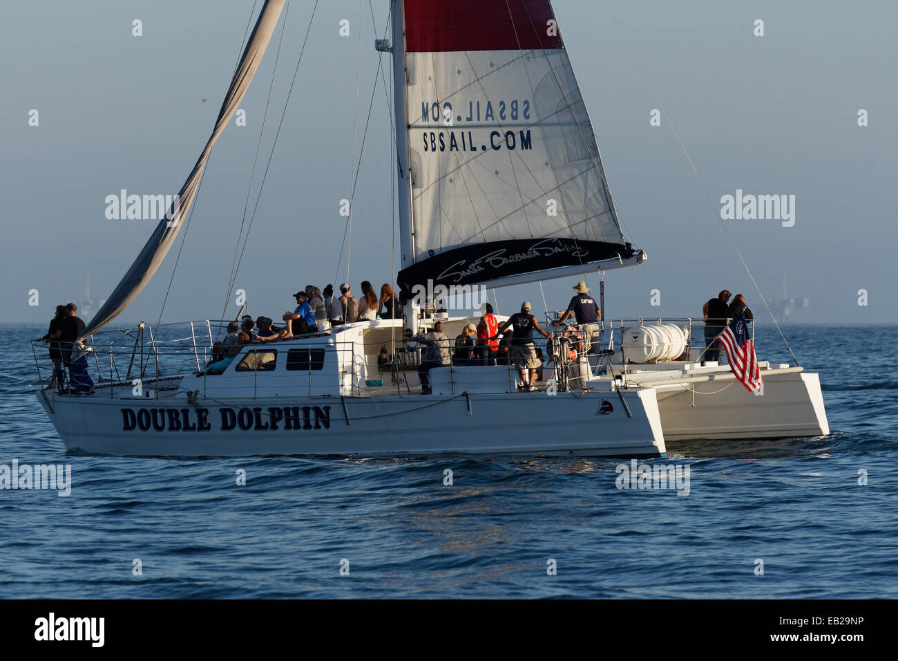 Siteseeing Catamaran sailing off the coast of Santa Barbara, California USA - Stock Image