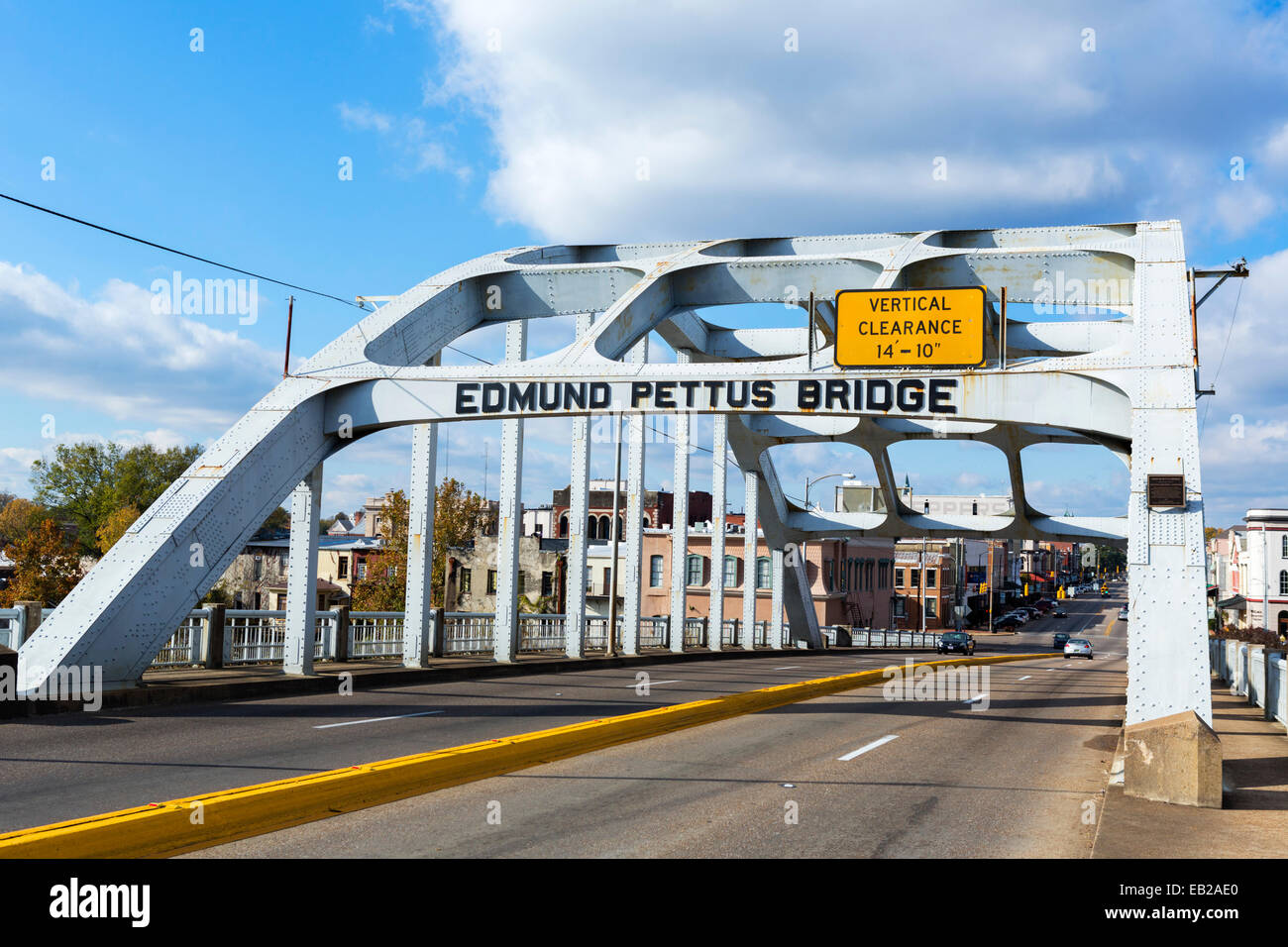 Edmund Pettus Bridge in Selma, Alabama, USA - scene of police violence on the first 1965 Selma to Montgomery Voting - Stock Image