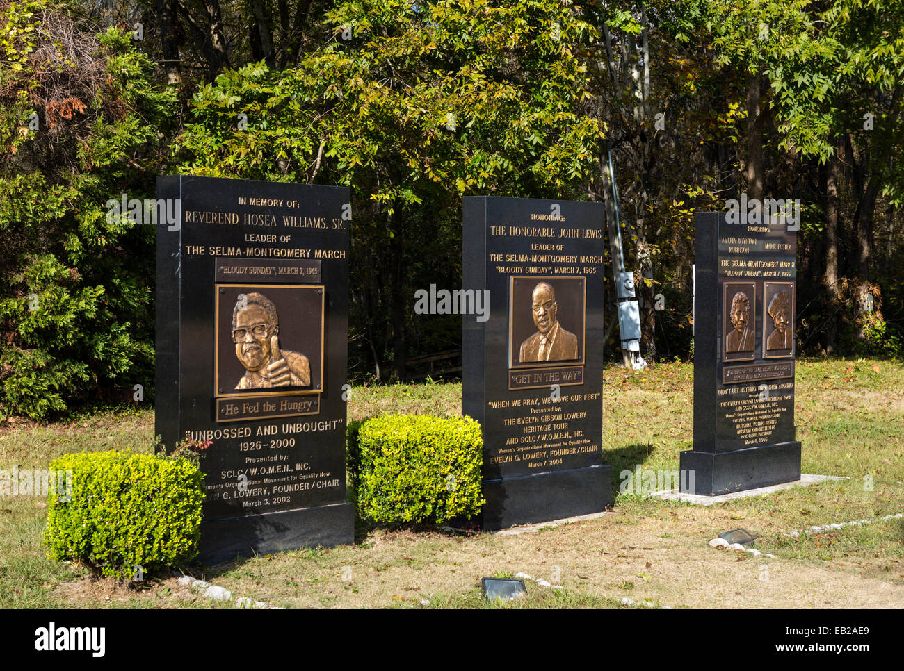 Memorials honoring leaders of the 'Bloody Sunday' March on 7th March 1965, Selma, Alabama, USA - Stock Image