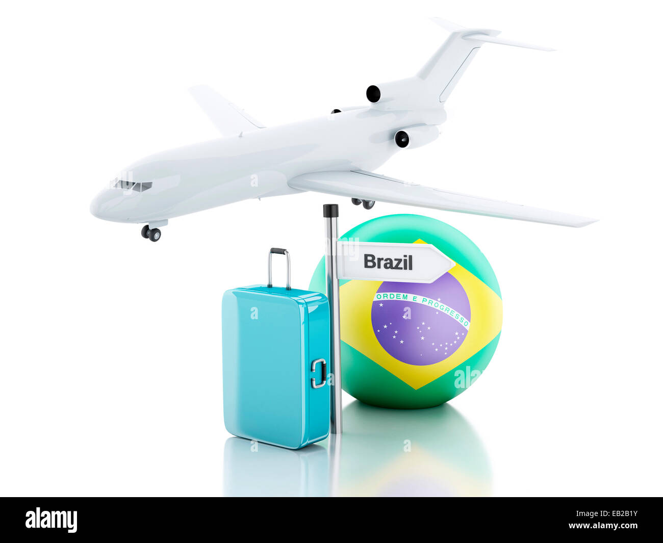 Airplane on world map three dimensional stock photos airplane on suitcase plane and brazil flag icon 3d illustration on gumiabroncs Choice Image