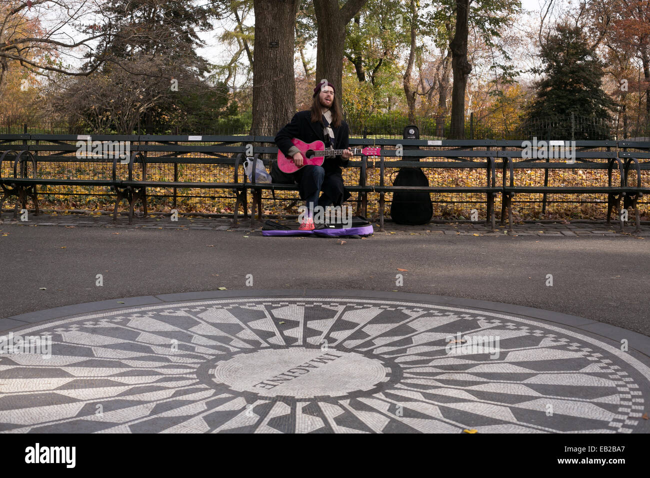 The Imagine mosaic in the Strawberry Fields section of Central Park, New York City. - Stock Image