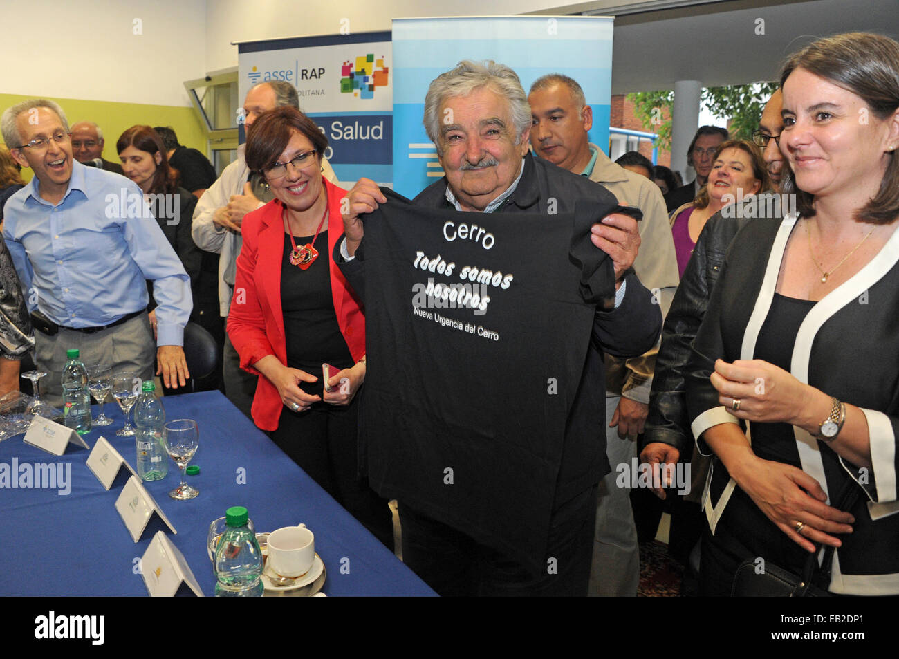 Montevideo, Uruguay. 24th Nov, 2014. Image provided by Uruguay's Presidency shows Uruguayan President, Jose - Stock Image