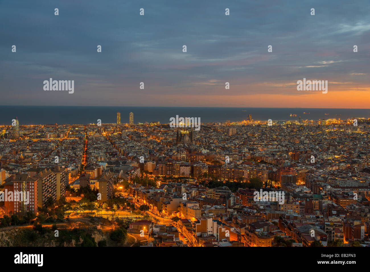 Sunset city skyline, Barcelona, Catalonia, Spain - Stock Image