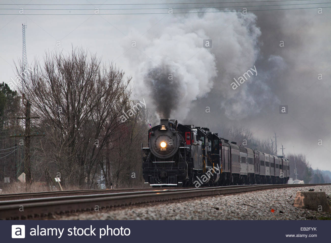 Ex-Southern Railway 2-8-0 Consolidation #630 on a fantrip from Norfolk, Virginia, to Petersburg, Virginia, and return. - Stock Image