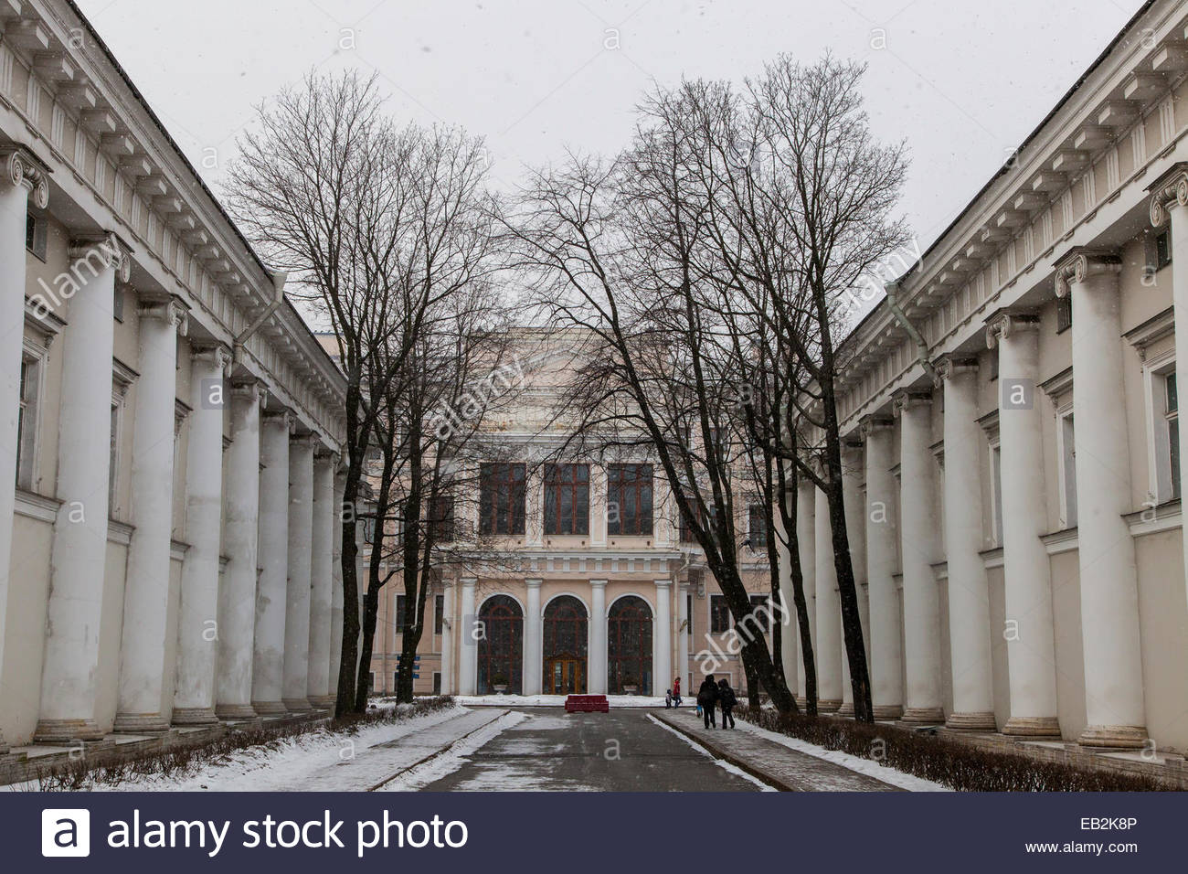 The Alexandrinsky, or Russian State Pushkin Academy Drama Theater, viewed from Zodchego Rossi Street. - Stock Image