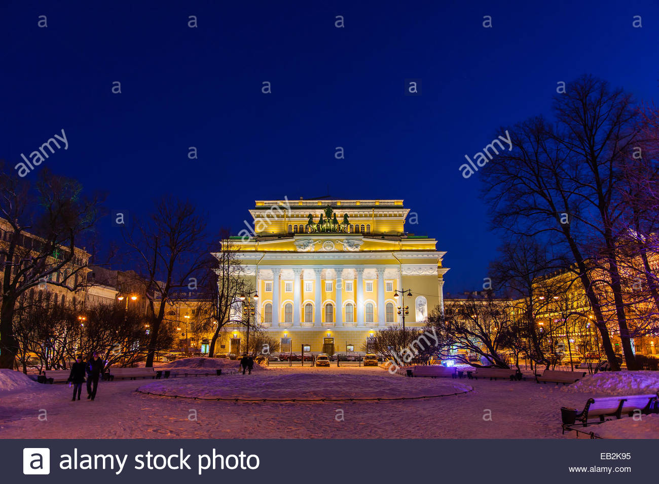 The Alexandrinsky Theatre, or Russian State Pushkin Academy Drama Theater, at night. - Stock Image