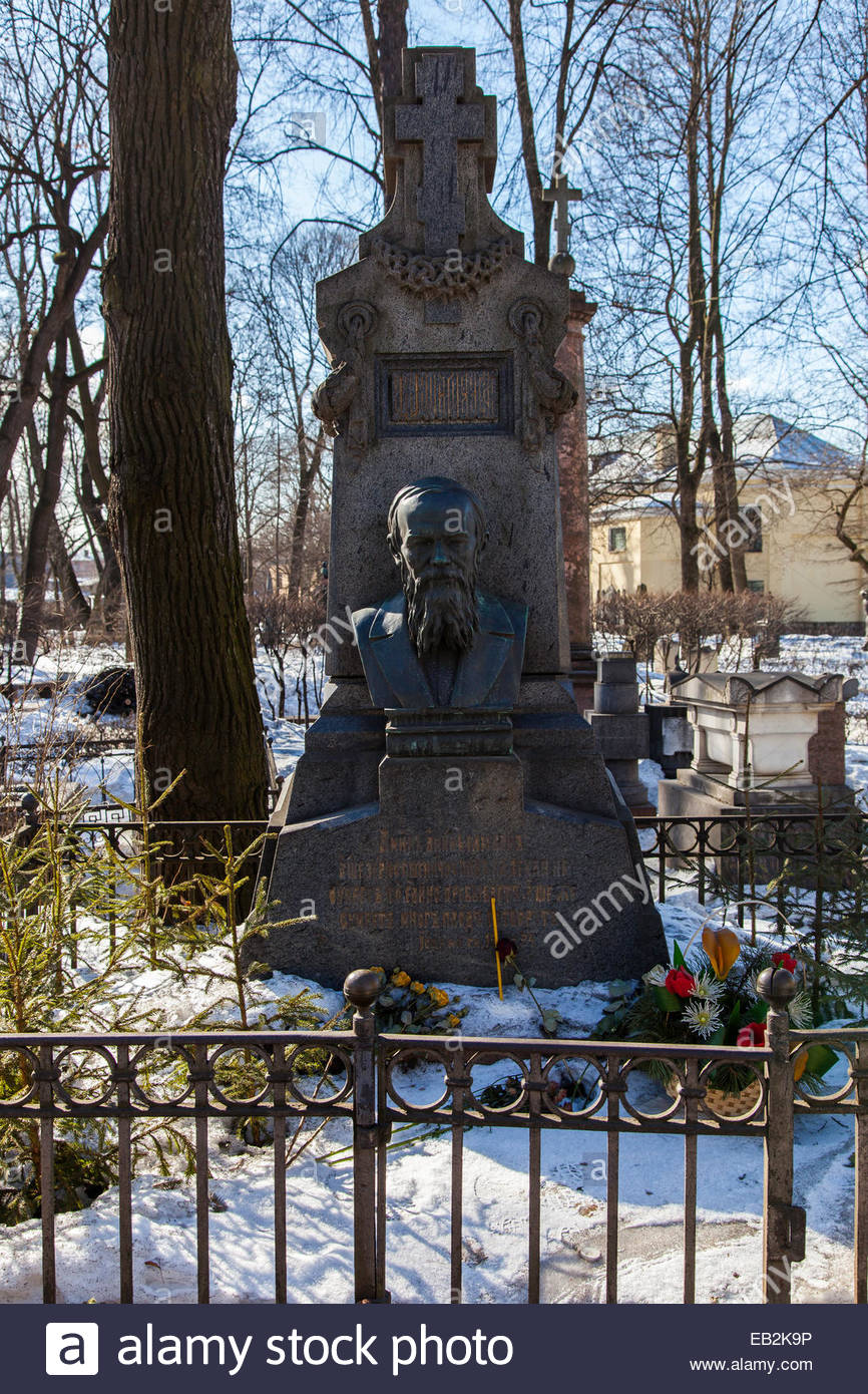The grave of Russian author and philosopher, Fyodor Mikhailovich Dostoyevsky. - Stock Image