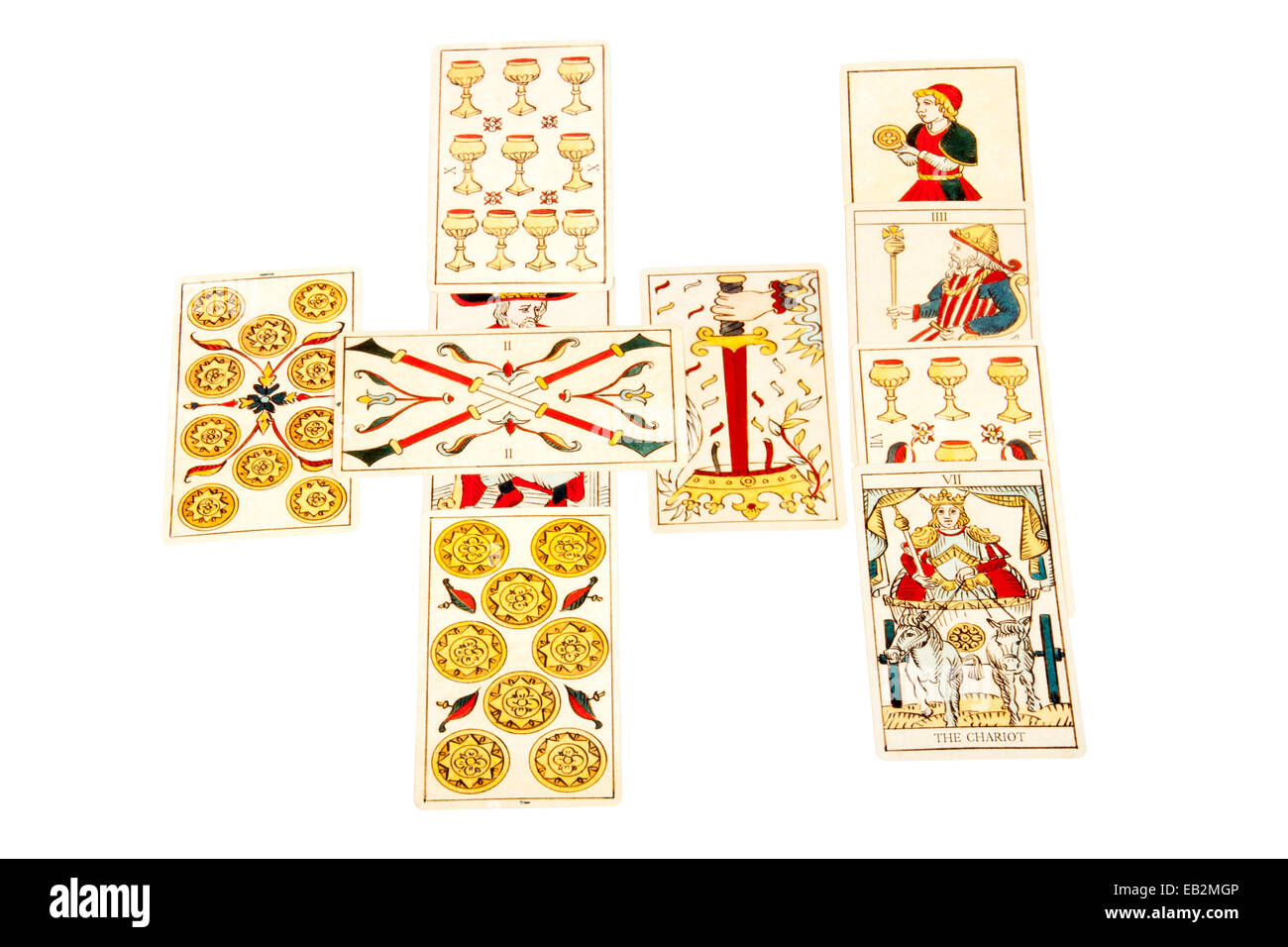 Tarot Cards Set Out In The Celtic Cross Spread Stock Photo Alamy