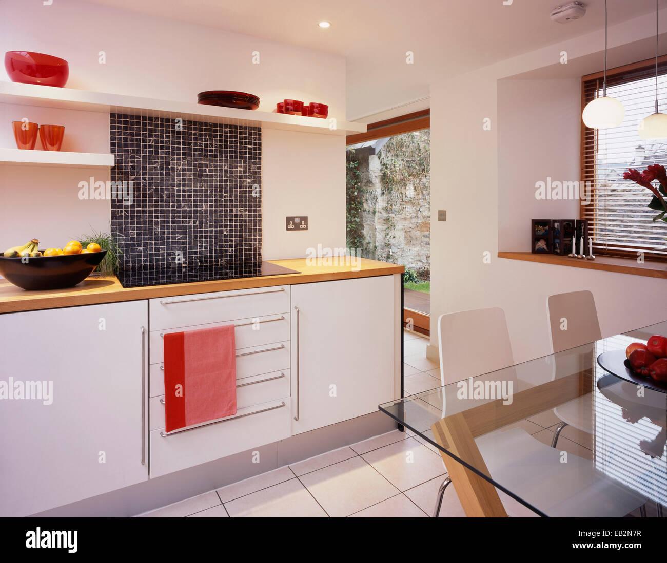 White modern kitchen in The Grainstore, Perthshire, Scotland - Stock Image