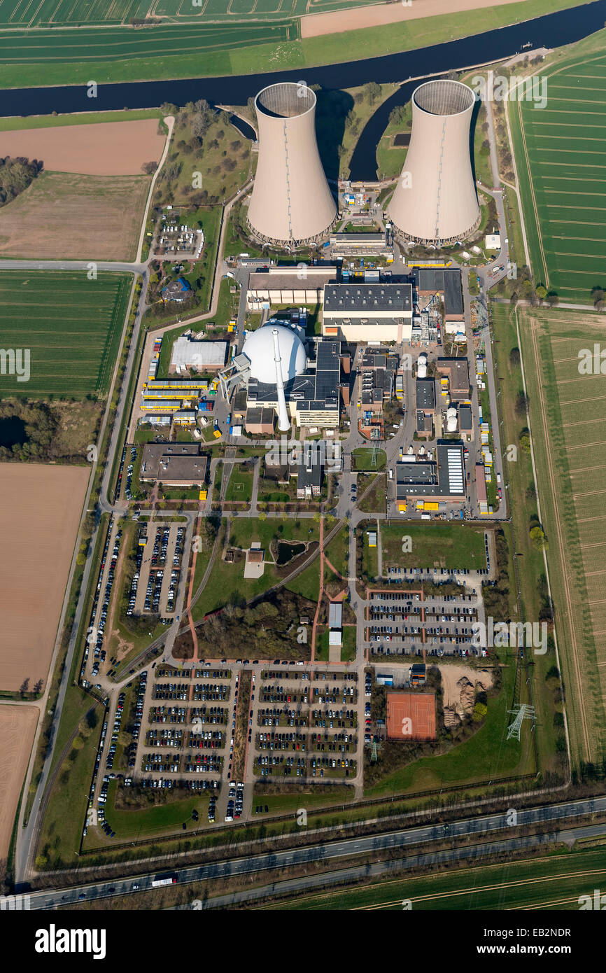 Aerial view, Grohnde nuclear power plant on the Weser River, Grohnde, Emmerthal, Lower Saxony, Germany - Stock Image