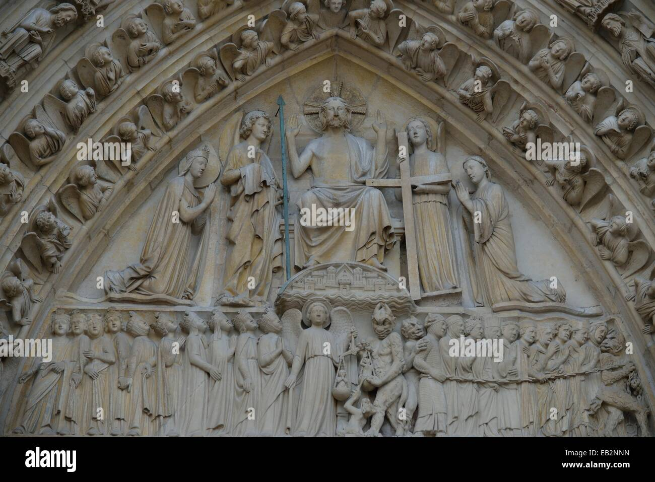 Detail of the main portal of Notre Dame Cathedral, Paris, France Stock Photo