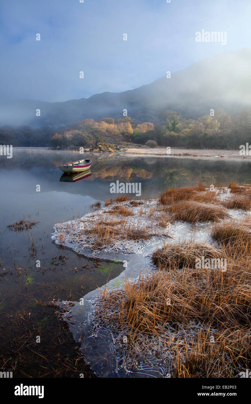 Frosty winter morning on the shore of Upper Lake, Killarney National Park, County Kerry, Ireland. - Stock Image