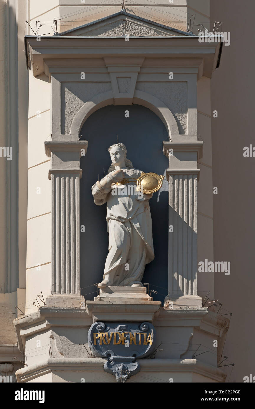 Sculpture of Prudence, goddess of Wisdom, on the baroque town hall, Lüneburg, Lower Saxony, Germany - Stock Image