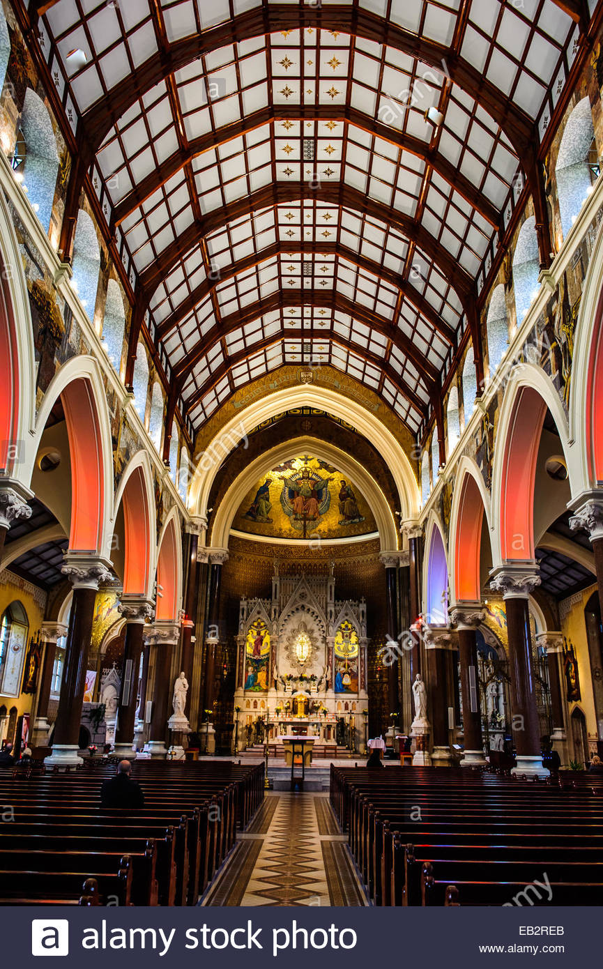 Newly renovated intricate interior of Clonard Church. - Stock Image